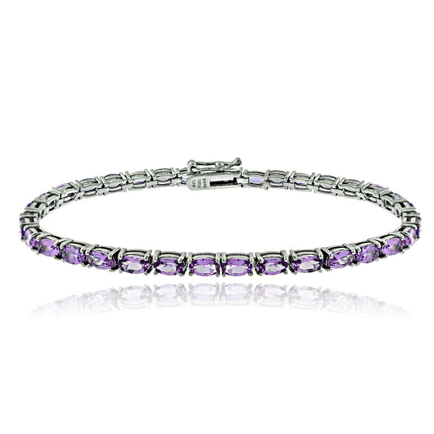 Sterling Silver 6.2ct African Amethyst 5x3mm Oval Tennis Bracelet