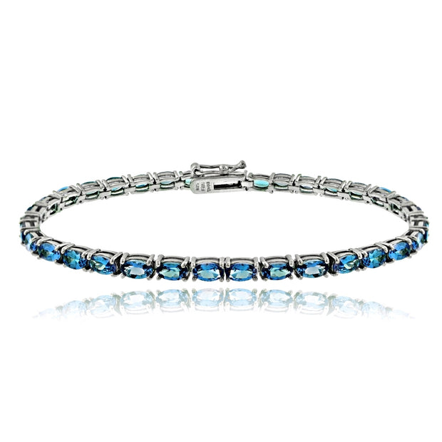 Sterling Silver 7.35ct Aquamarine CZ Birthstone Tennis Bracelet