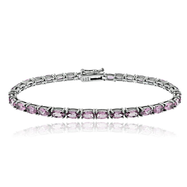 Sterling Silver 7.35ct Created Alexandrite CZ Birthstone Tennis Bracelet