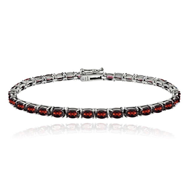Sterling Silver 9.9ct Garnet 5x3mm Oval Tennis Bracelet
