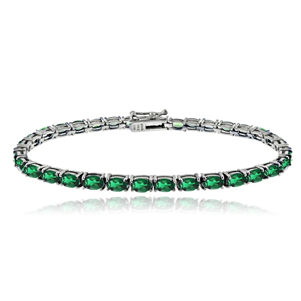 Sterling Silver 4.6ct Created Emerald 5x3mm Oval Tennis Bracelet