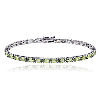 Sterling Silver 7.25ct Peridot 5x3mm Oval Tennis Bracelet