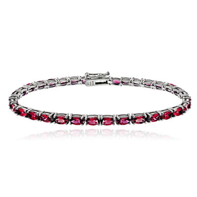 Sterling Silver 7.25ct Created Ruby 5x3mm Oval Tennis Bracelet