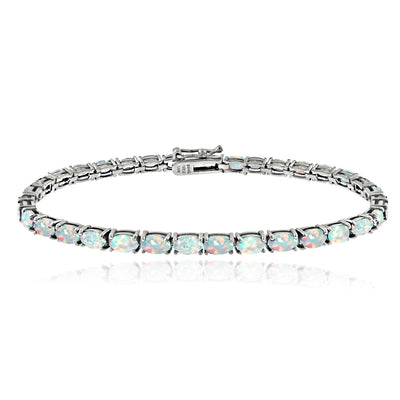 Sterling Silver 3.1ct Created Opal 5x3mm Oval Tennis Bracelet