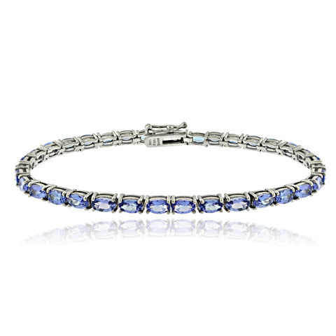 Sterling Silver 7.6ct Tanzanite 5x3mm Oval Tennis Bracelet