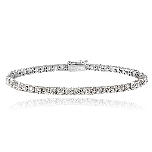 Platinum Plated Sterling Silver 100 Facets Cubic Zirconia Tennis Bracelet