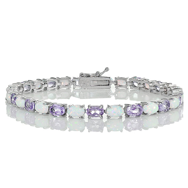 Sterling Silver Amethyst and Created White Opal 6x4mm Oval Tennis Bracelet