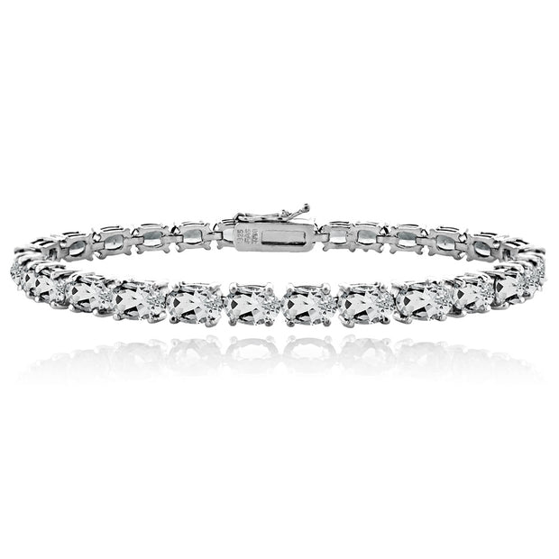 Sterling Silver 9ct Aquamarine 6x4mm Oval Tennis Bracelet