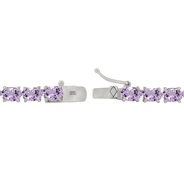 Sterling Silver 6X4mm Amethyst Oval-cut Tennis Bracelet