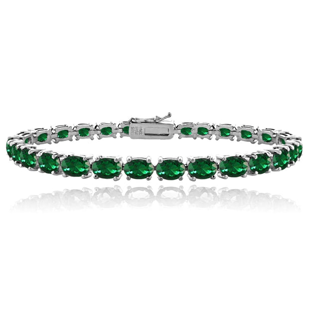 Sterling Silver 9.5ct Created Emerald 6x4mm Oval Tennis Bracelet