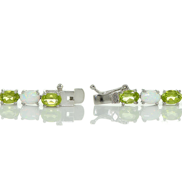 Sterling Silver Peridot and Created White Opal 6x4mm Oval Tennis Bracelet