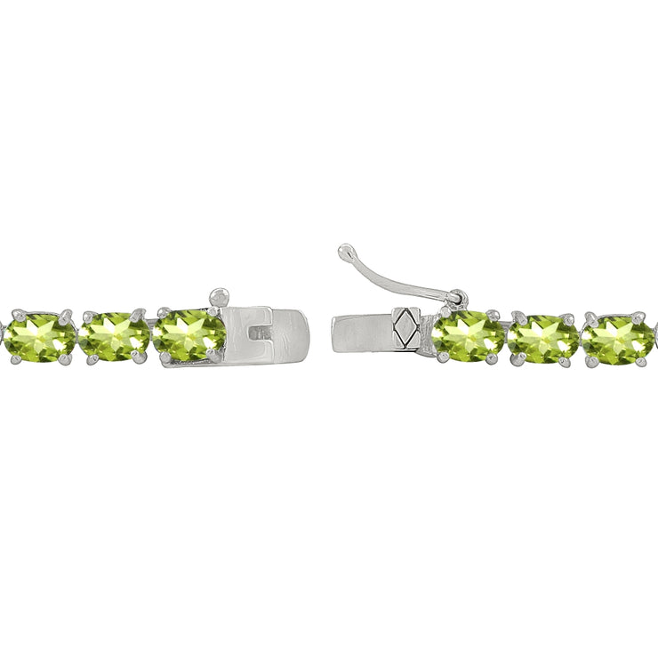 Sterling Silver 6X4mm Peridot Oval-cut Tennis Bracelet
