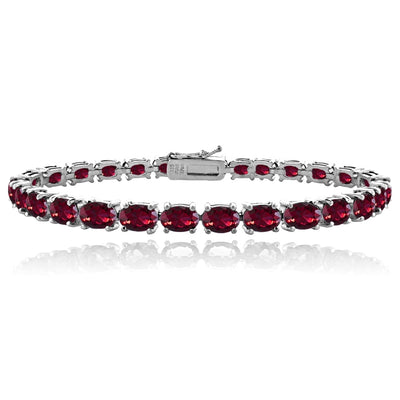 Sterling Silver 13.8ct Created Ruby 6x4mm Oval Tennis Bracelet