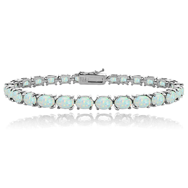 Sterling Silver 5.15ct Created White Opal 6x4mm Oval Tennis Bracelet