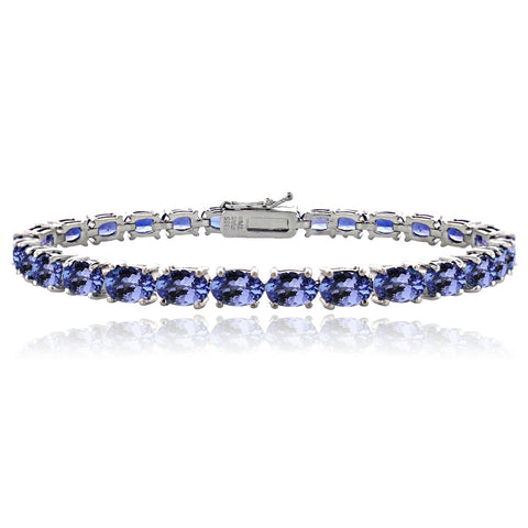 Sterling Silver 10ct Tanzanite 6x4mm Oval Tennis Bracelet