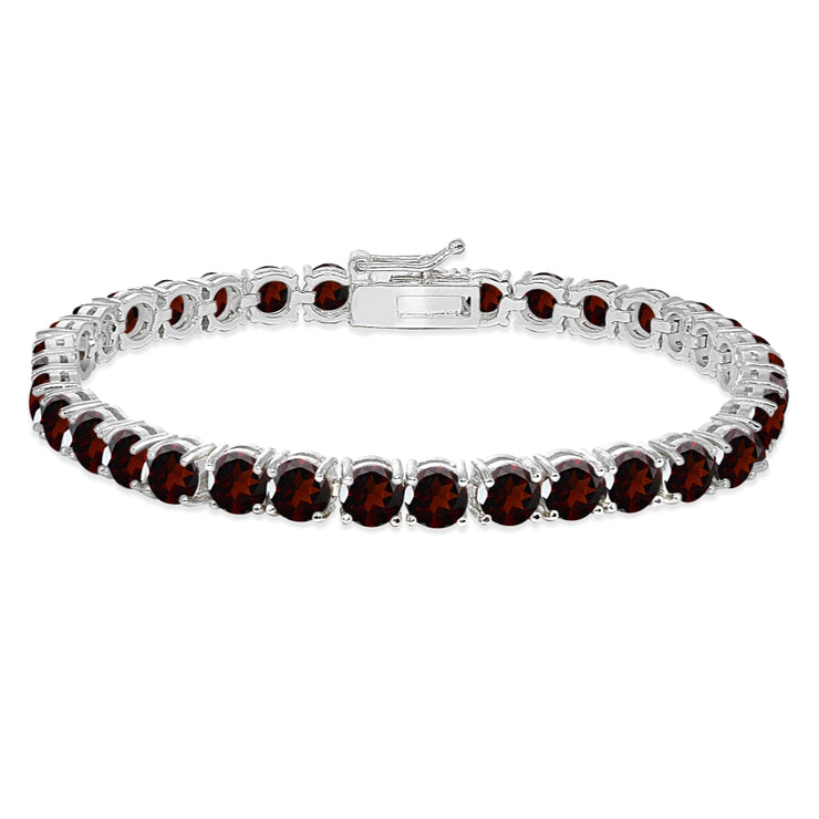 Sterling Silver 5mm Garnet Round-cut Tennis Bracelet