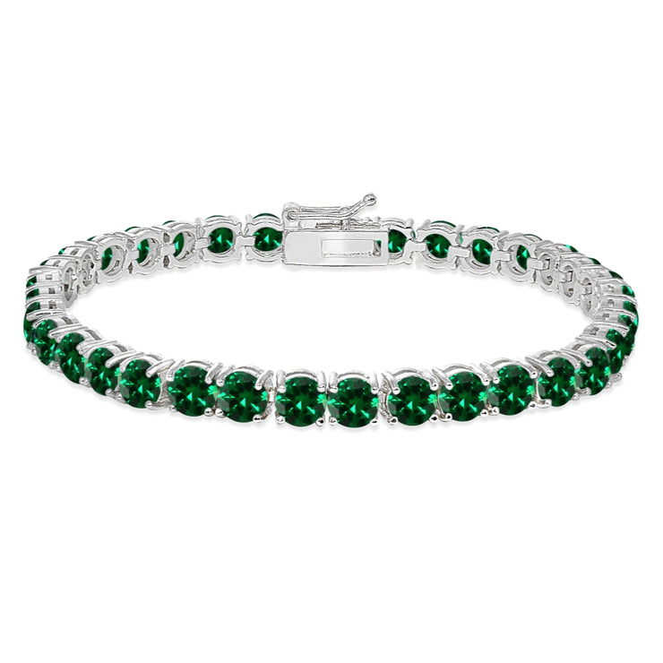 Sterling Silver 5mm Created Emerald Round-cut Tennis Bracelet