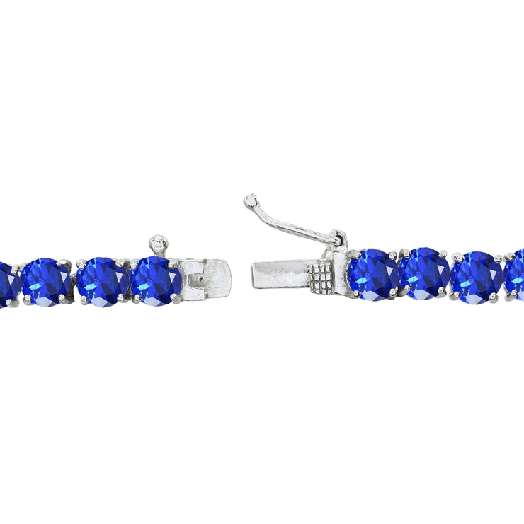 Sterling Silver Created Blue Sapphire 5mm Round Classic Tennis Bracelet