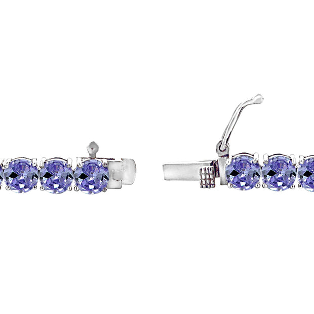 Sterling Silver 5mm Created Tanzanite Round-cut Tennis Bracelet