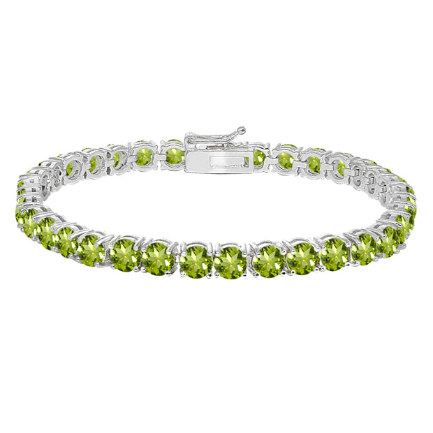 Sterling Silver 5mm Peridot Round-cut Tennis Bracelet