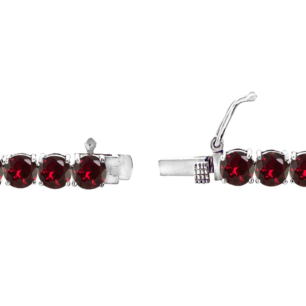 Sterling Silver 5mm Created Ruby Round-cut Tennis Bracelet