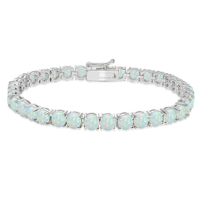 Sterling Silver 5mm Simulated White Opal Round-cut Tennis Bracelet