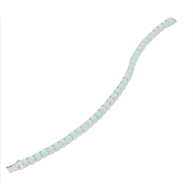 Sterling Silver 5mm Created White Opal Round-cut Tennis Bracelet