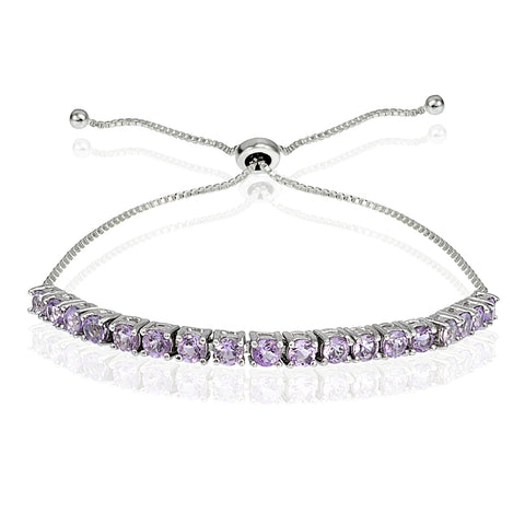 Sterling Silver 3mm Amethyst Round-cut Adjustable Bracelet