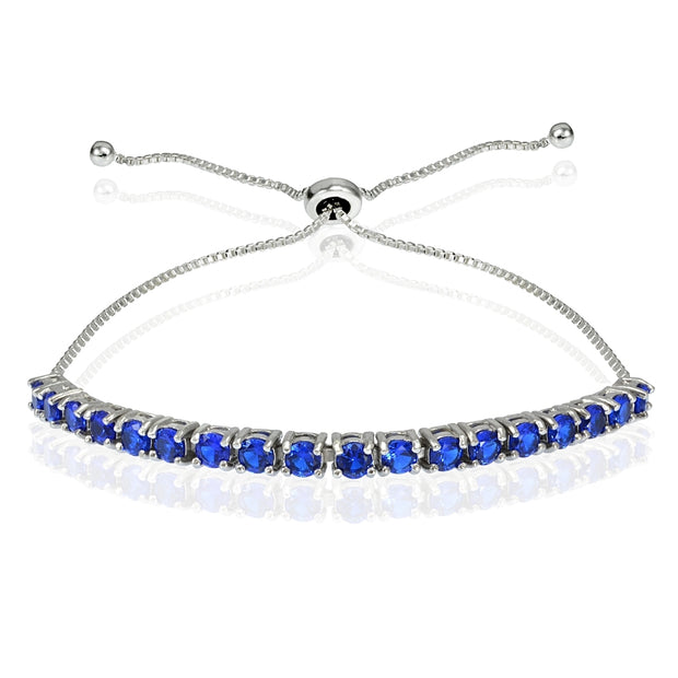Sterling Silver 3mm Created Blue Sapphire Round-cut Adjustable Bracelet