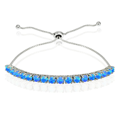 Sterling Silver 3mm Round Created Blue Opal Adjustable Pull-string Bolo Tennis Bracelet