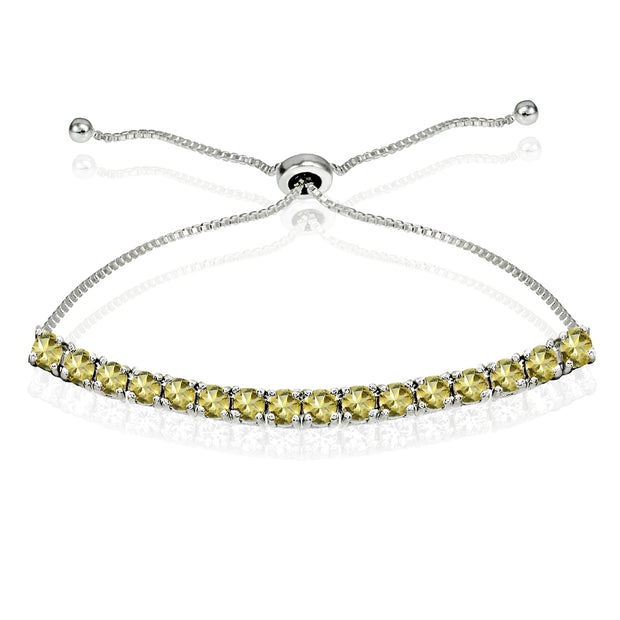 Sterling Silver 3mm Citrine Round-cut Chain Adjustable Pull-String Bolo Slider Tennis Bracelet for Women Teens Girls