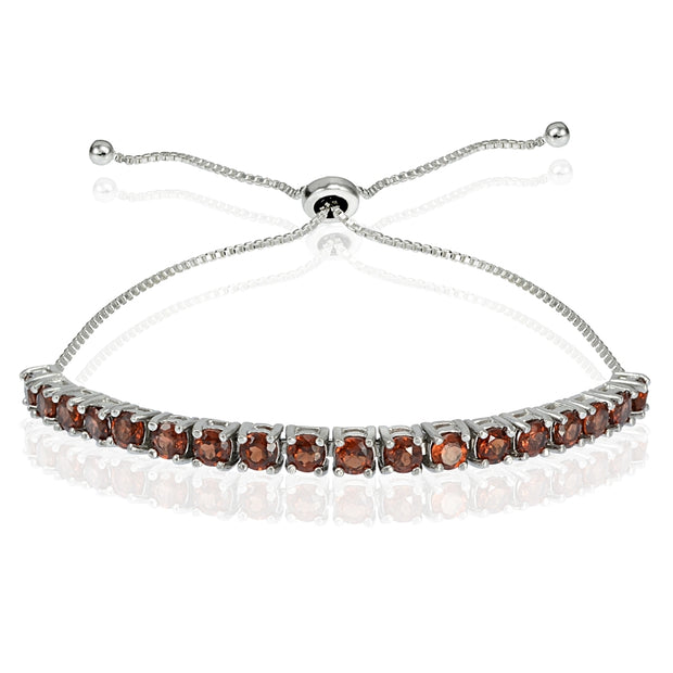 Sterling Silver 3mm Garnet Round-cut Adjustable Bracelet
