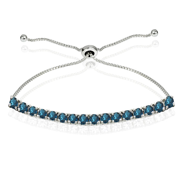 Sterling Silver 3mm London Blue Topaz Round-cut Chain Adjustable Pull-String Bolo Slider Tennis Bracelet for Women Teens Girls