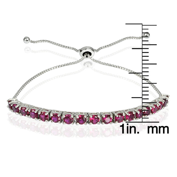 Sterling Silver 3mm Created Ruby Round-cut Adjustable Bracelet