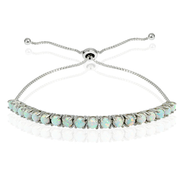 Sterling Silver 3mm Round Created White Opal Adjustable Pull-string Bolo Tennis Bracelet