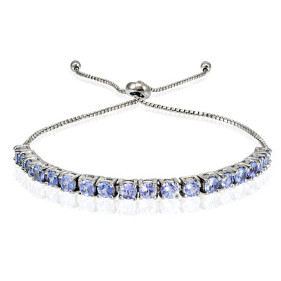 Sterling Silver 3mm Tanzanite Round Adjustable Pull-string Bolo Tennis Bracelet