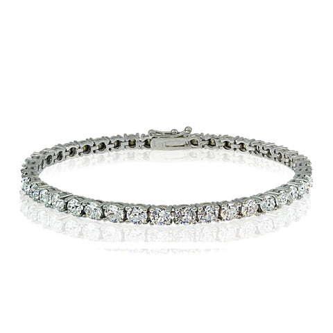 Sterling Silver 3mm Round Tennis Bracelet with Swarovski Elements