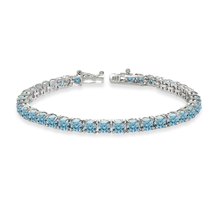 Sterling Silver Light Blue 4mm Round Tennis Bracelet Made with Swarovski Crystals