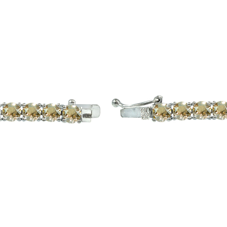 Sterling Silver Golden Shadow 4mm Round Tennis Bracelet Made with Swarovski Crystals