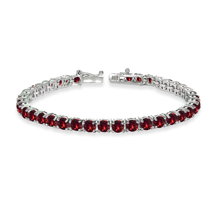 Sterling Silver Red 4mm Round Tennis Bracelet Made with Swarovski Crystals