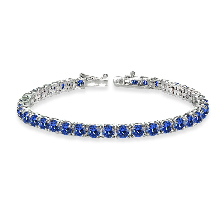 Sterling Silver Royal Blue 4mm Round Tennis Bracelet Made with Swarovski Crystals