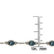 Sterling Silver 4ct TGW Oval London Blue Topaz Braided Link Bracelet