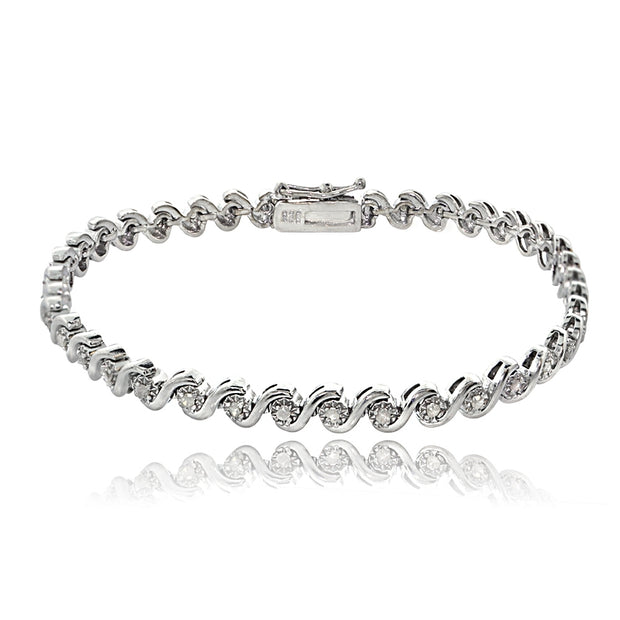 Sterling Silver 1/2 ct tdw Diamond Miracle Set S Design Tennis Bracelet