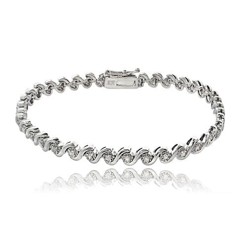 Sterling Silver 0.50ct TDW Diamond Miracle Set S Design Tennis Bracelet