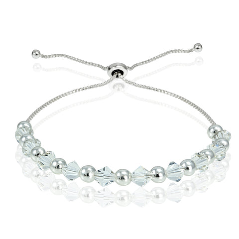 Sterling Silver Adjustable Bracelet with Clear Swarovski Elements