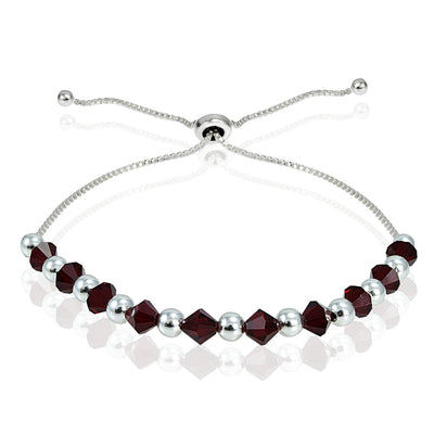 Sterling Silver Adjustable Bracelet with Red Swarovski Elements