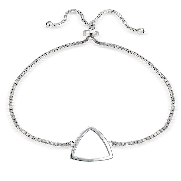 Sterling Silver Fancy Triangle Polished Adjustable Bracelet