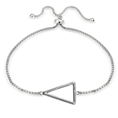 Sterling Silver Triangle Polished Adjustable Bracelet