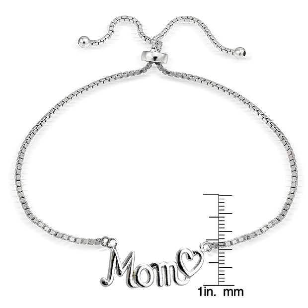 Sterling Silver MOM & Heart Polished Adjustable Bracelet