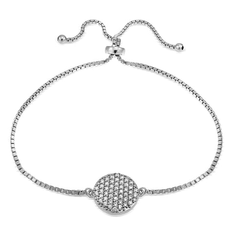 Sterling Silver Cubic Zirconia Circle Charm Adjustable Bracelet